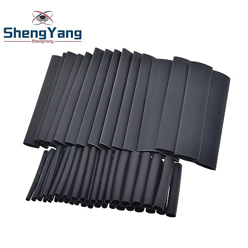 ShengYang 127pcs/set Assorted Heat Shrink Tube Black Wire Wrap Electrical Insulation Cable Sleeving 2-13mm