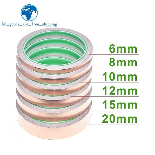 10m 6-20mm Adhesive Tape Foil Tape Adhesive Conductive Copper Shield Eliminate EMI Anti-static Single-sided Repair Tape