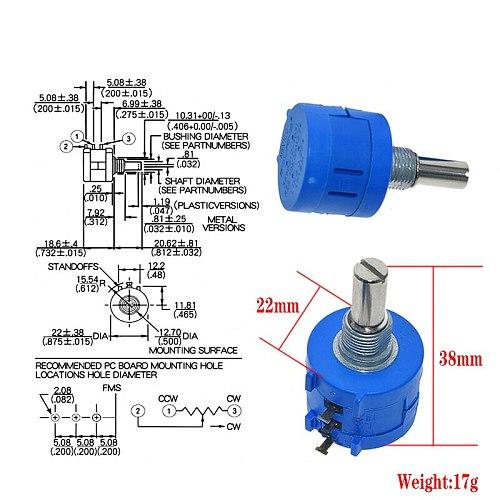 WAVGAT 3590S Multiturn Potentiometer 500 1K 2K 5K 10K 20K 50K 100K ohm Potentiometer Adjustable Resistor 3590 102 202 502 103