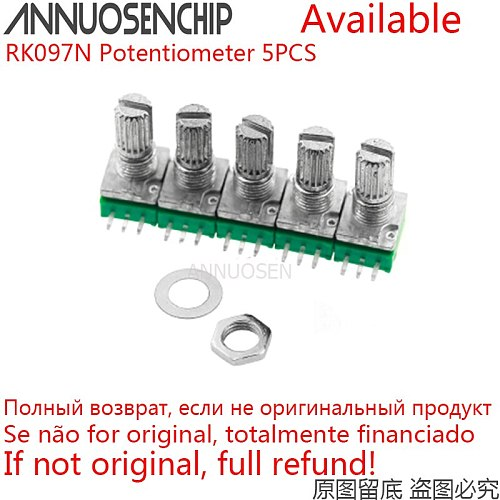 5pcs RK097N 5K 10K 20K 50K 100K 500K B5K B10K B20K B50K B100K With Switch Audio 3Pins Shaft 15mm Amplifier Sealing Potentiometer