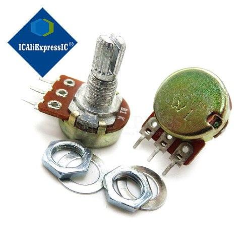 100pcs WH148 B1K B2K B5K B10K B20K B50K B100K B500K 3Pin 20mm Shaft Amplifier Dual Stereo Potentiometer 1K 2K 5K 10K 50K 100K