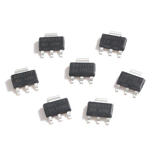 10Pcs SMD Low Dropout Voltage Regulator Transistor CZT5551 LM317DCYR MCP1703T-3302E/DB SPX1117M3-3.3 TLV1117-33IDCYR SOT-223 IC