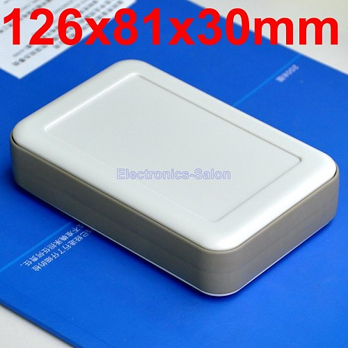 HQ Hand-Held Project Enclosure Box Case, White-Gray, 126 x 81 x 30mm.