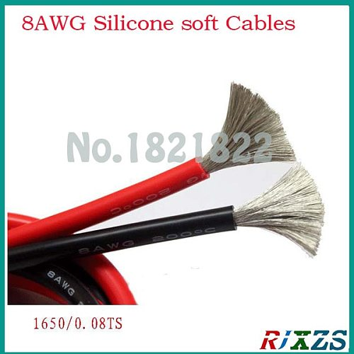 1M  8AWG soft silicone wires 8.3 spare 1M BLACK /RED large  WIRE CABLE