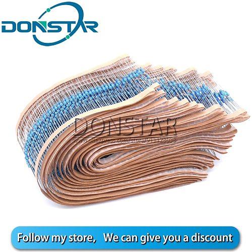 100pcs 1/4W 1R~22M 1% Metal film resistor 100R 220R 1K 1.5K 2.2K 4.7K 10K 22K 47K 100K 470K 100 220 1K5 2K2 4K7 ohm resistance