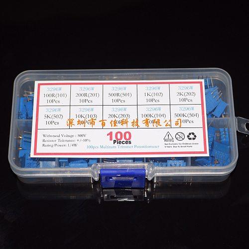 100pcs 10 kinds specifications Resistance × 10Pcs Multi-Ring Adjustable Resistor 3296W Precision Adjustable Resistor Set