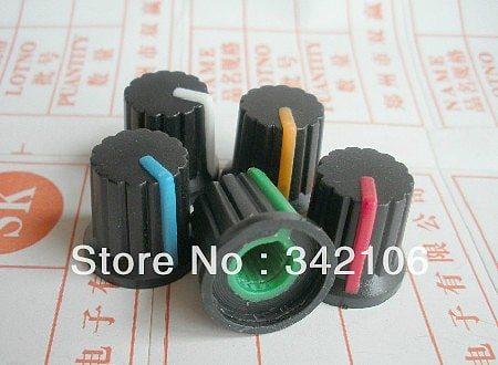 Free Shipping!!  100pcs Potentiometer knob switch cap (black button colors) diameter 6mm diameter 15MM * 15MM high
