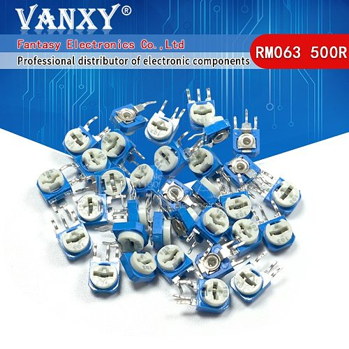 20pcs RM063 500 ohm blue and white can be adjusted resistance potentiometer 500R 501