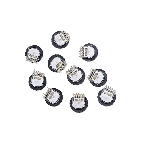 B103 16X2mm 10K Ohm Double Dial Taper Volume Wheel Duplex Potentiometer 10Pcs