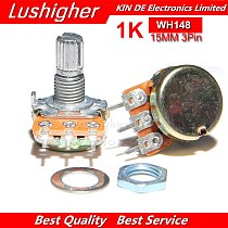 5PCS 1K Ohm WH148 3pin 15mm B1K Potentiometer Shaft With Nuts Washers