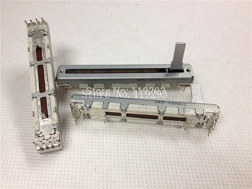 ALPS Slide Potentiometers 6 cm 60MM B100KX2 double 100KB * 2 axis length 15MM tuner Taipower Locator 100KBX2 4+4 8pin--2pcs/lot