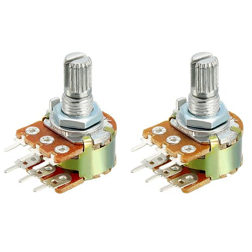 Uxcell 1/2/5Pcs Carbon Film Potentiometers WH148 Variable Resistors Dual Turn Rotary Taper 50K 100K 500K Round Shaft Metal