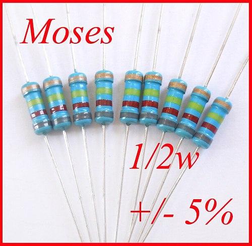 E9D1F8V 1/2w 36 51 62 68 82 100 180 270 750 820 910 ohm 0.5w watt 100% Original Fixed Resistor Carbon Film Resistance 5% 500pcs