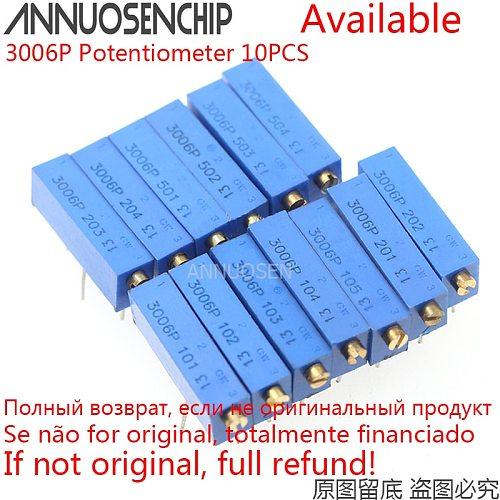 10PCS 3006P Precision Multi-turn Adjustable Potentiometer 1K 2K 5K 10K 20K 50K 100K 200K 500K 100R 200R 500R 100 200 500 ohm