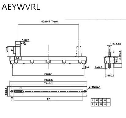 50pcs potentiometer A10K A20K A50K Original duplex potentiometer mixer fader 75MM A10KX2 A20K*2 A50K*2