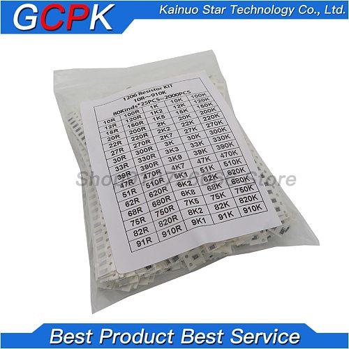 2000pcs 1206 SMD Resistor Kit Assorted Kit 1ohm-1M ohm 5% 80values*25pcs=2000pcs Sample Kit
