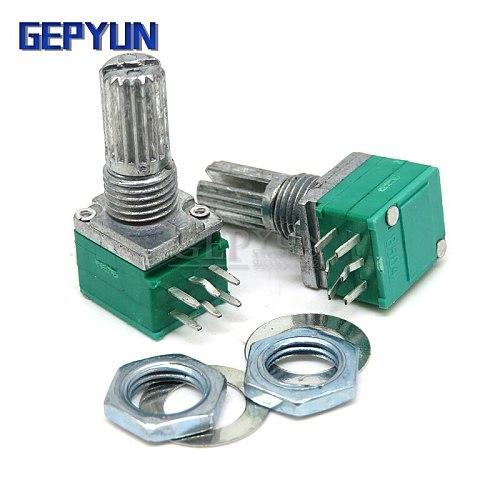 5pcs RK097G 5K 10K 20K 50K 100K 500K B5K with a switch audio 6pin shaft 15mm amplifier sealing potentiometer Gepyun