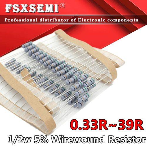 50pcs 1/2w 5% Wirewound Resistor Fuse 0.33R 0.5R 1R 2.2R 3.3R 4.7R 5.1R 10R 22R 30R 33R 39R