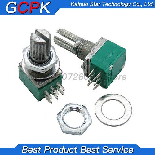 10pcs 6PIN RK097G B5K B10K B20K B50K B100K duplex potentiometer audio amplifier potentiometer 15mm handle 5K 10K 20K 50K 100K