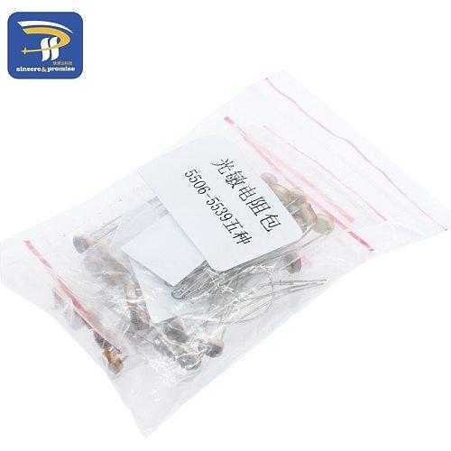 50PCS/LOT (5 values * 10pcs) LDR 5MM Photo Light Sensitive Resistor Photoelectric Photoresistor Kit for 5506 5516 5528 5537 5539