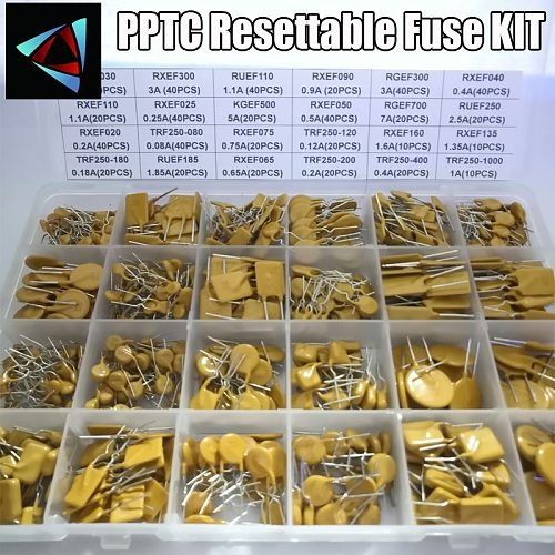 610PCS 24values Self-recovery Assorted Packs PPTC KIT 0.05A 0.1A 0.2A 0.25A 0.3A 0.4A 0.5A 0.75A 0.9A 1.1A 1.35A 2A 2.5A 3.75A