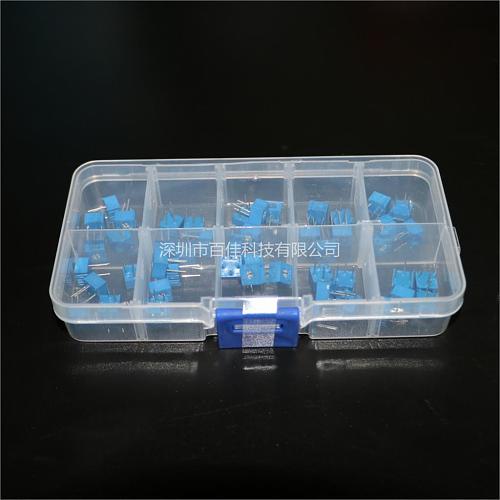 50pcs 3362 Precision Adjustable Resistor 100 - 1 Ohm Resistor Potentiometer Set 10 kinds × 5pcs