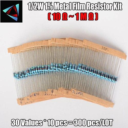 1/2W 1% 0.5W 10 Ohm ~1M Ohm Metal film resistance 30Values*10pcs=300pcs Resistor Assorted Kit