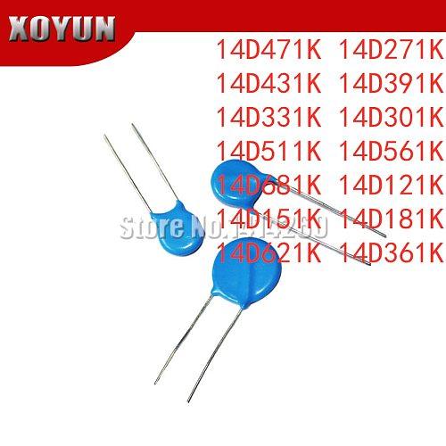 10pcs 14D471K 14D271K 14D431K 14D391K 14D331K 14D301K 14D511K 14D561K 14D681K 14D121K 14D151K 14D181K 14D621K 14D361K 14mm