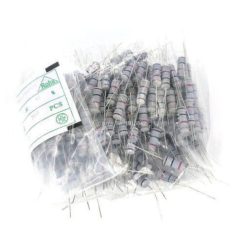 50PCS 2W 5% Carbon Film Resistor 0.1 0.5 1 4.7 10 47 470 560 750 120K 200K 510K 820K ohm Resistance Carbon Film 0.1R - 820K ohm