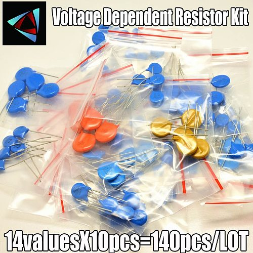 140pcs/lot 14values x10pcs Commonly resistors 5D471K~10D241K 10D set Varistor Resistor Pack assorted kit