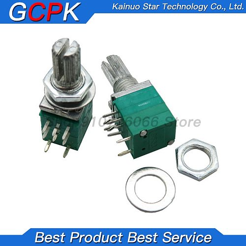10PCS RK097G 50K B50K 10K B10K RK097GS single linked potentiometer with a switch audio 8pin shaft 15mm amplifier sealing new