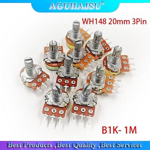 5pcs WH148 3Pin 20mm Potentiometer B1K B2K B5K B10K B20K B50K B100K B250K B500K B1M 1K 2K 5K 10K 20K 50K 100K 250K 500K 1M