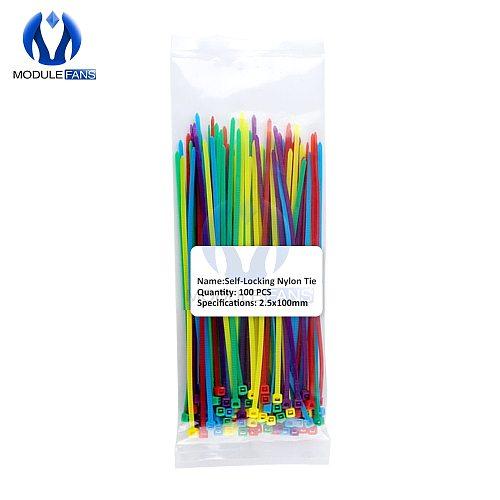 100pcs Multi Color Self-Locking Plastic Nylon Ties Wire Cable Zip Ties 2.5x100mm 2.5x150mm 2.5x200mm