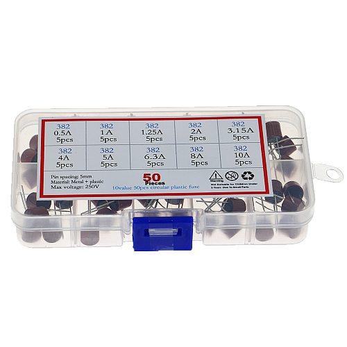 50Pcs/Box 10 Kinds Square Fuse Plastic 382 Electrical Assorted Fuse Mix Set 0.5A 1A 1.25A 2A 3.15A 4A 5A 6.3A 8A 10A