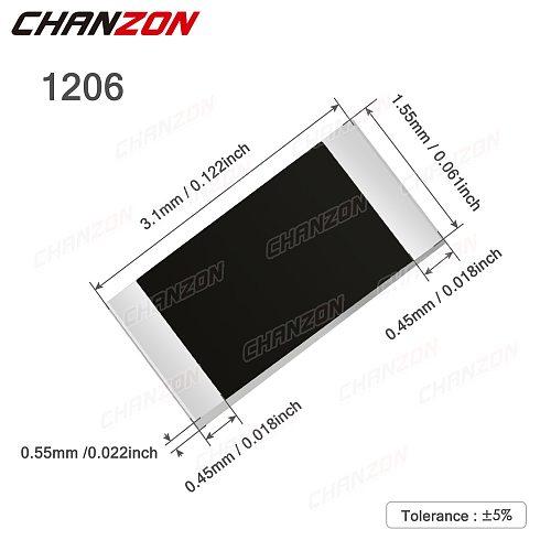 100Pcs SMD 1206 Resistors 0ohm - 10M Ohm 1/4W 1% High Precision Film Chip Fixed Resistance 0.01 0.22 4R7 100 220 330 1K 10K 300K