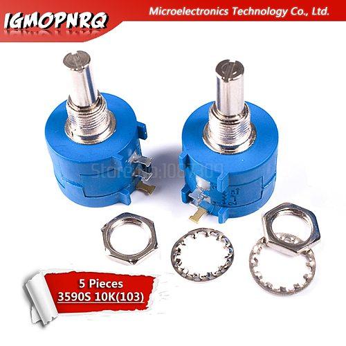 5pcs 3590S-2-103L 3590S 10K ohm Precision Multiturn Potentiometer 10 Ring Adjustable Resistor