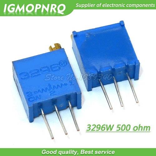 100Pcs/lot 3296W-1-501LF 3296W 501 500 ohm Top regulation  Multiturn Variable Resistor Trimmer Potentiometer High Precision