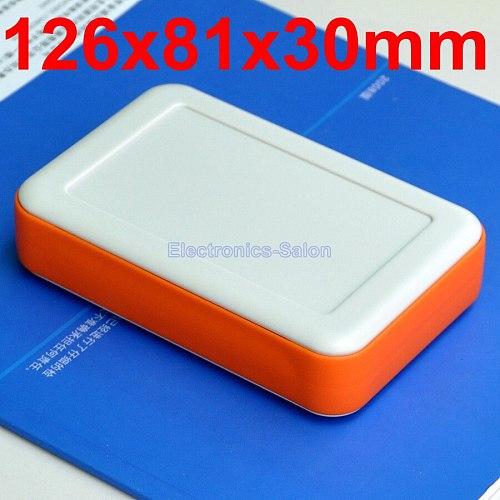 HQ Hand-Held Project Enclosure Box Case, White-Orange, 126 x 81 x 30mm.