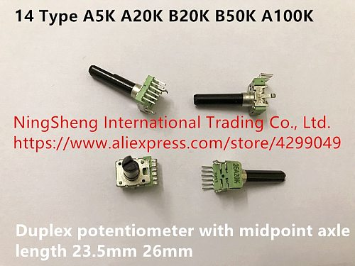 Original new 100% import 14 Type A5K A20K B20K B50K A100K with midpoint duplex potentiometer axle length 23.5mm 26mm (SWITCH)