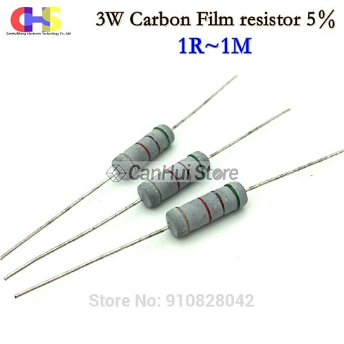 10PCS 3W Carbon Film Resistor 5% 1R ~ 1M 1R 4.7R 10R 22R 33R 47R 1K 4.7K 10K 100K 10 22 33 47 4K7 ohm oxide film resistance
