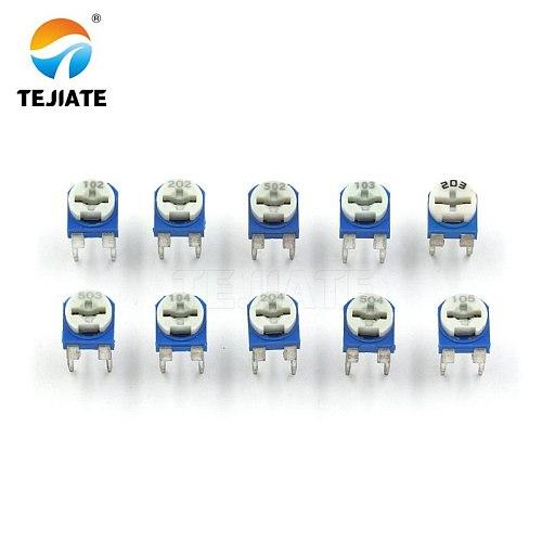 1Pack  vertical blue white adjustable resistor kit 100 ohm -1M ohm 10kinds * 5 PCS=50PCS potentiometer