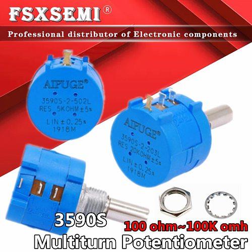 1pcs 3590 3590S 1K 2K 5K 10K 20K 50K 100K ohm Precision Potentiometer Adjustable Resistor 3590-2-102 103 502 103 203 503 104