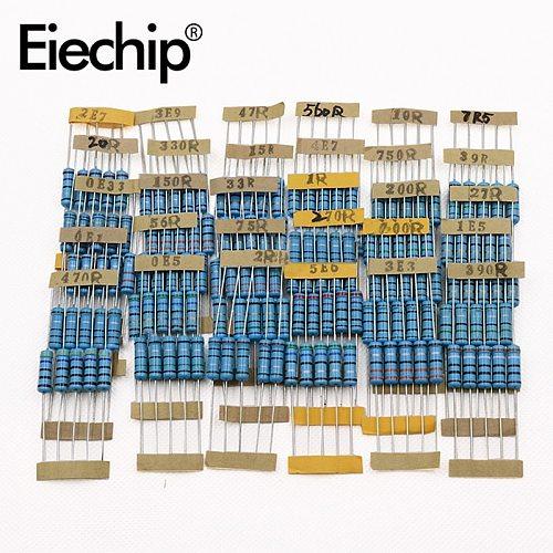 150pcs 2W 1/2W 1% Metal Film Resistor 30 Value of Resistors Set ,0.1 Ohm -750 Ohm 1K-820K Resistor Assorted DIY Assortment Kit