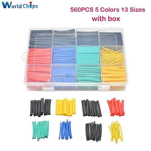 530/560/580pcs Heat Shrink Tubing Insulation Shrinkable Tube Electronic Polyolefin Wire Cable Sleeve Kit Heat Shrink Tube w/ Box
