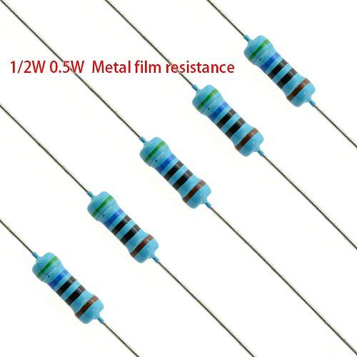 0.5W 1/2W Metal Film Resistor 1% Five-color Ring Power Resistor 0.1~1M 2 4.7 10R 47 100 220 360 470 1K 2.2K 10K 22K 4.7K 100KOhm
