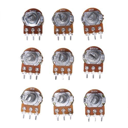 18Pcs Single Potentiometer Assortment Kit B500K B100K B50K B20K B10K B5K B2K B1K B1M 100K 10K 1K 20K 500K 50K 5K Dropship
