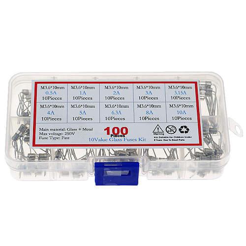 100pcs 10Kind x 10pcs  3.6*10mm 250V Double Iron Cap Axial Slow Glass Fuse With Lead Wire 0.5A 1A 2A 3A 3.15A 4A 5A 6.3A 8A 10A