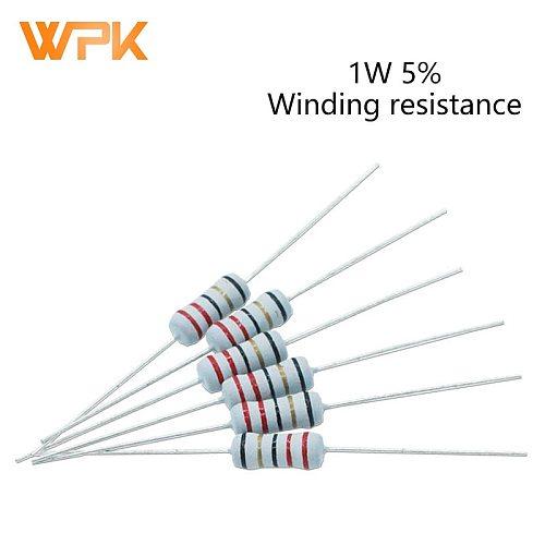 1W Winding Fuse Resistance Accuracy 5% 5.1R/6.8/10R/22/39R/68/100R/200 Ohm 20Pcs