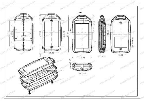 HQ Hand-Held Project Enclosure Box Case, Black-White, 72 x 39 x 15mm. (SKU-A9)