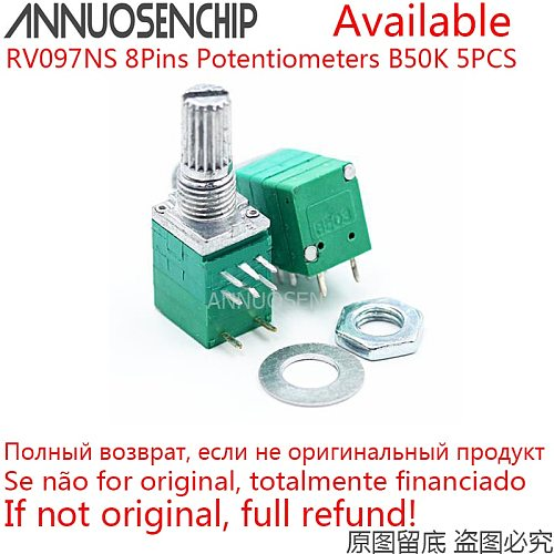 5PCS RV097NS Dual Potentiometer B50K B 50K 8Pins With Switch Audio Amplifier Sealed Potentiometer